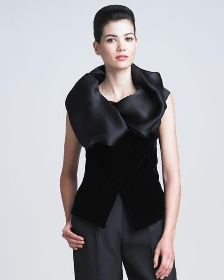 Organza-Collar Velvet Blouse