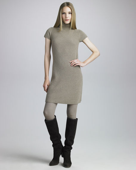 Short-Sleeve Cashmere Sweaterdress