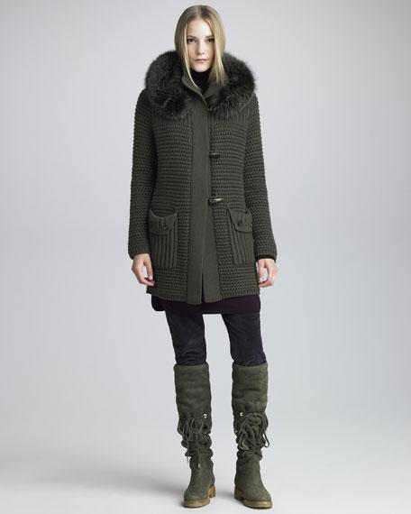 Fur-Trimmed Knit Coat, Brown