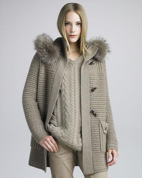 Fur-Trimmed Knit Coat, Desert Rose