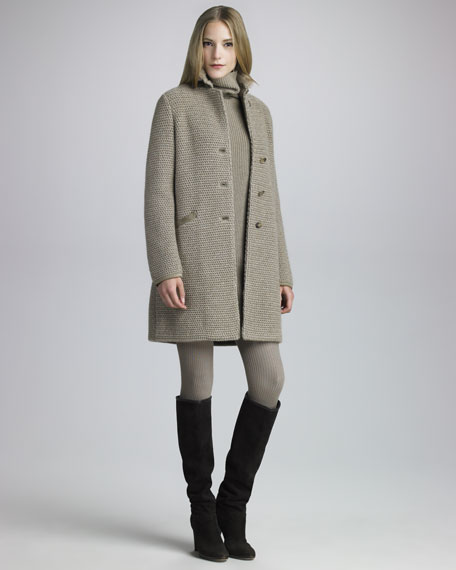 Mink-Collar Knit Coat