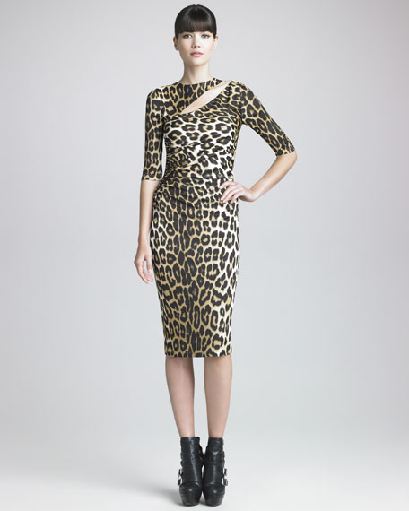 Half-Sleeve Leopard-Print Dress