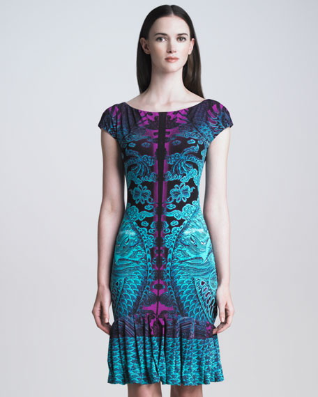Dragon-Print Ruffle-Hem Dress