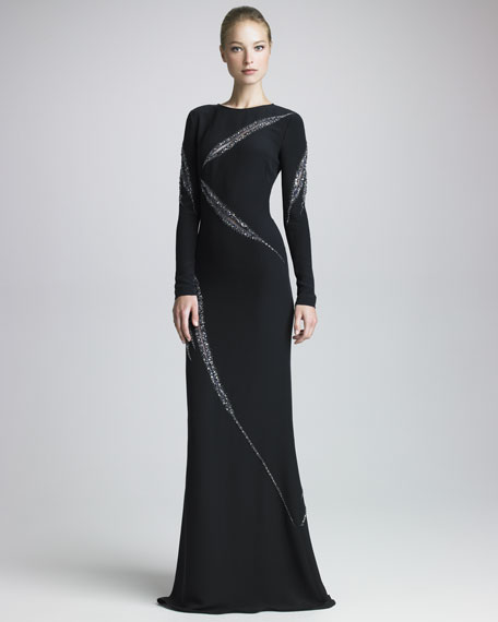 Beaded Long-Sleeve Gown, Black