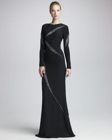 Beaded Long-Sleeve Gown, Black