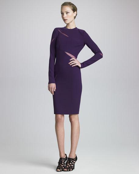 Mesh-Slash Crepe Dress, Purple