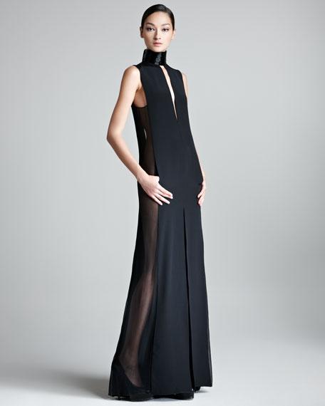 Sheer-Side Halter Gown