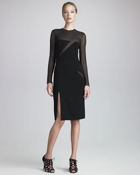 Mesh-Slash Crepe Dress, Black