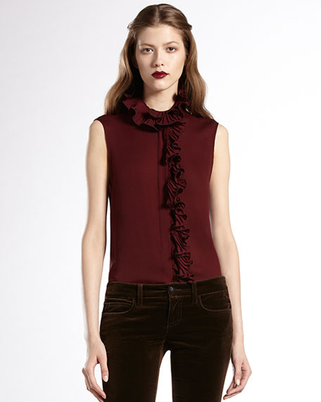 Pleated-Neckline Silk Top