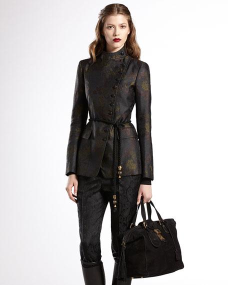 Asymmetric Floral Jacquard Jacket