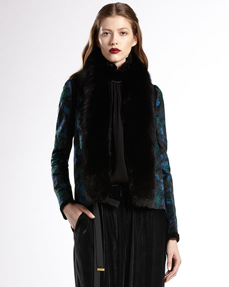 Fox-Collar Floral Brocade Jacket