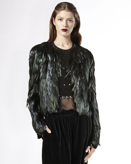 Iridescent Rooster-Feather Jacket