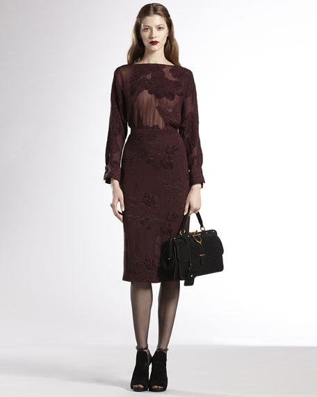 Deep-V Sheer Silk Dress