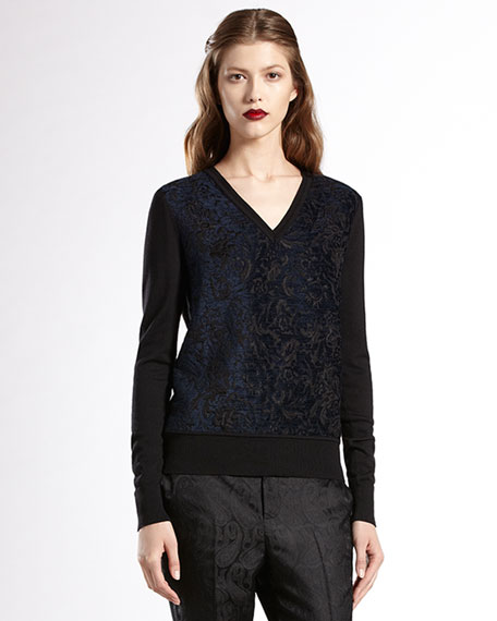 V-Neck Jacquard Sweater