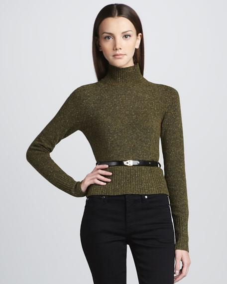 Belted Tweed Turtleneck Sweater