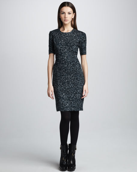 Tweed-Print Short-Sleeve Dress