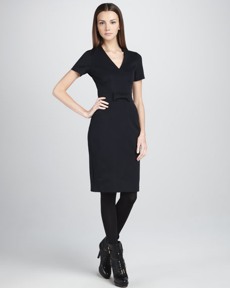 Bow-Waist Short-Sleeve Dress