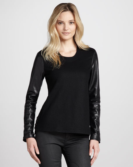 Leather-Sleeve Jersey Top