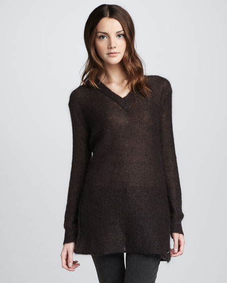 Metallic Gauzy V-Neck Sweater