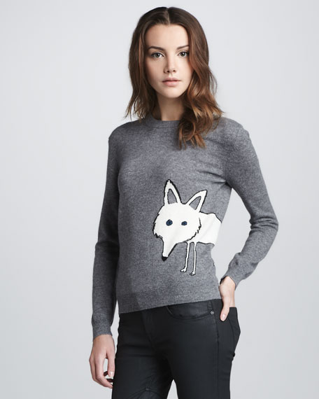 Fox-Graphic Wool-Cashmere Sweater