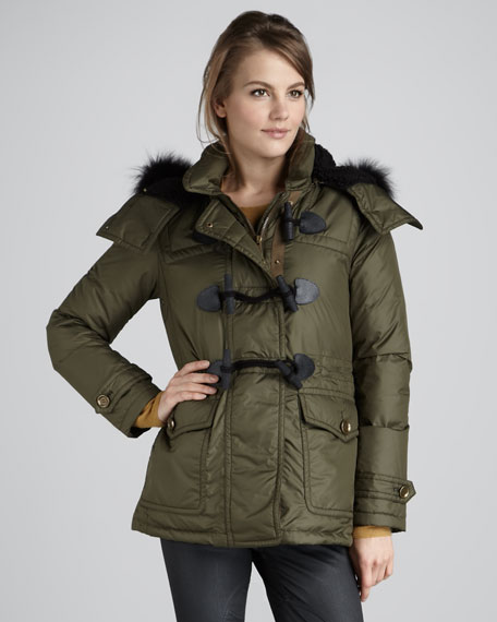 Fur-Trim Tech Duffle Coat