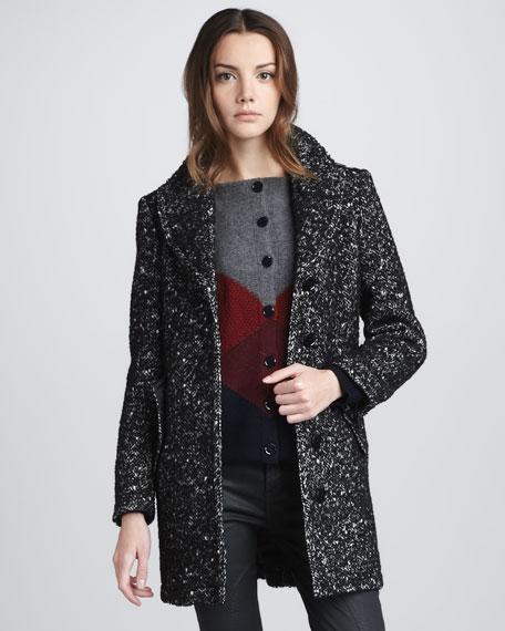 Leather-Tab Boucle Coat