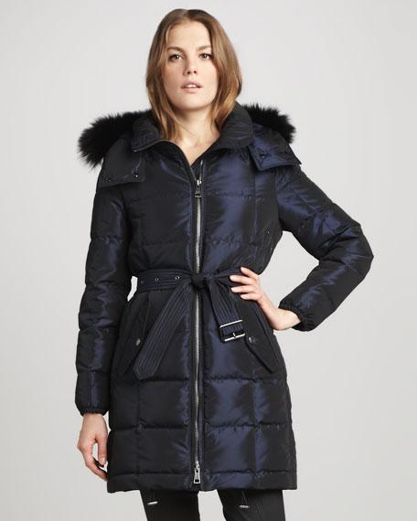 Fur-Trim Metallic Puffer Coat