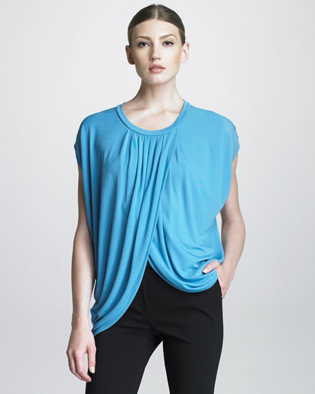 Draped-Front Top, Azure