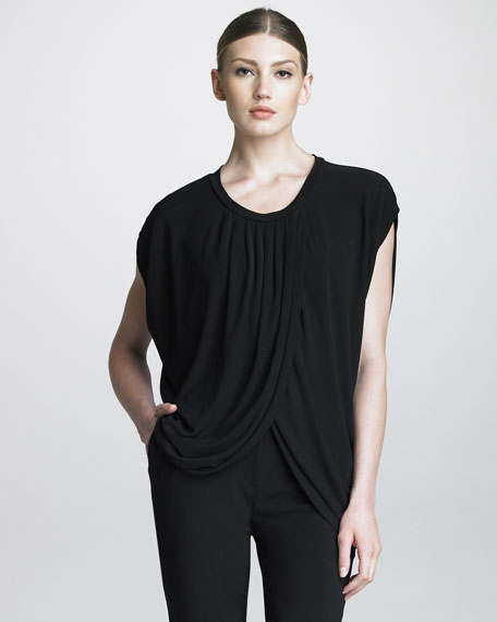 Draped-Front Top, Black
