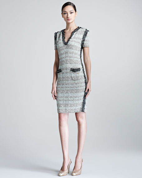 Selia Short-Sleeve Knitted Tweed Dress