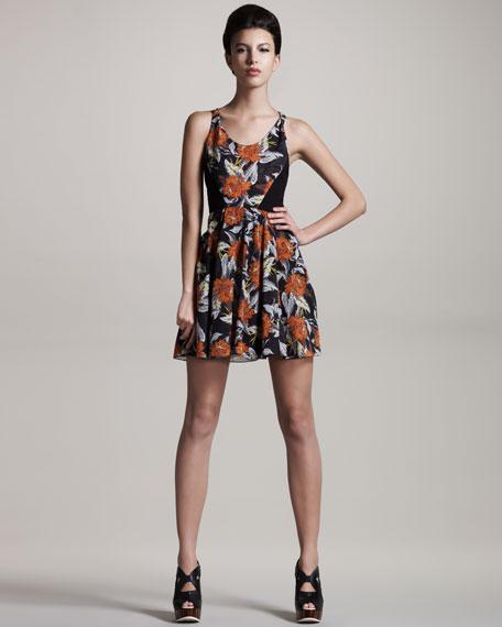Floral-Print Georgette Dress