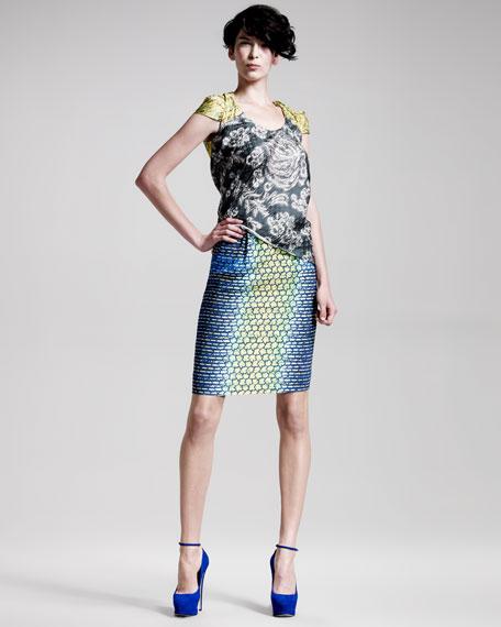 Scale-Print Pencil Skirt