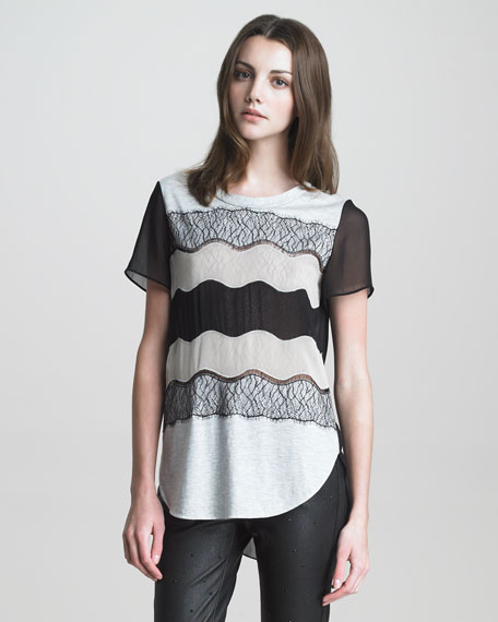 Wavy-Striped Lace-Applique T-Shirt