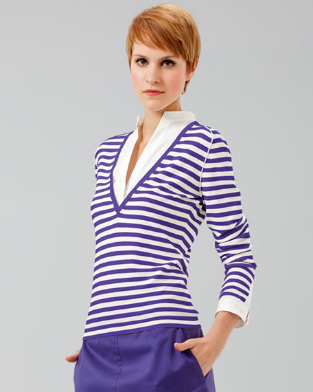 Poplin-Inset Striped Knit Sweater