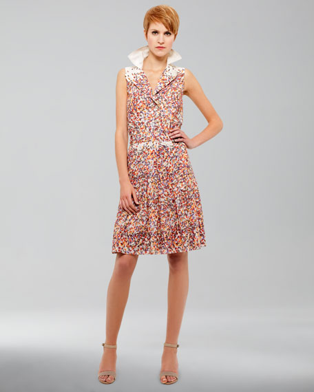 Confetti-Print Sleeveless Dress