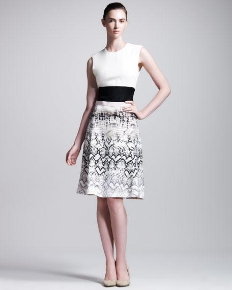 Reptile-Print Silk Dress