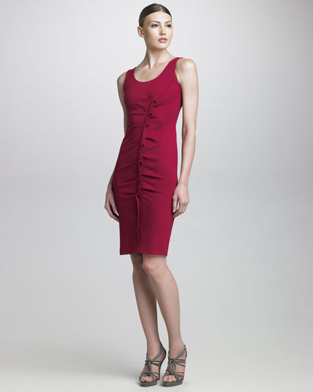 Origami-Gathered Milano Jersey Dress