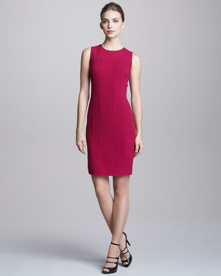 Sleeveless Seam-Detail Crepe Dress