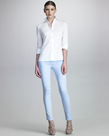 Five-Pocket Slim Jeans, Sky Blue