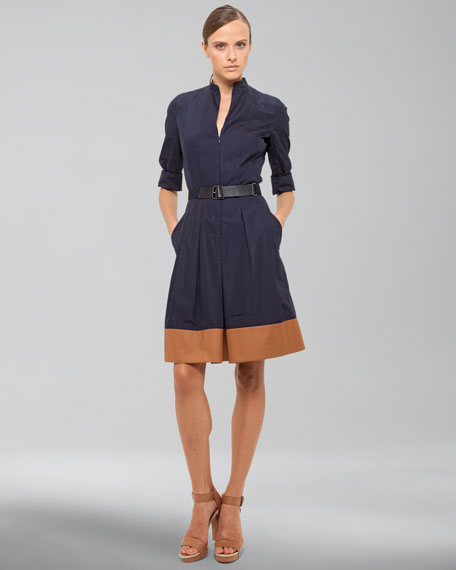 Zip-Front Dress with Contrast Hem