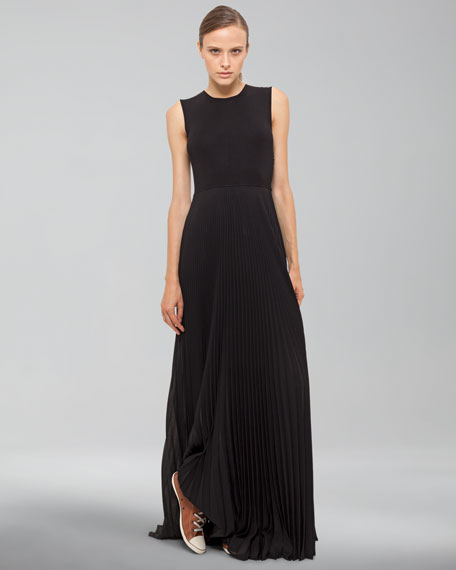 Sleeveless Gown with Pleated Skirt