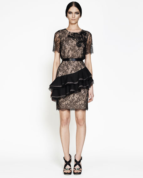 Ruffle-Detail Lace Cocktail Dress
