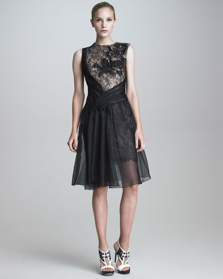 Lace-Organza Cocktail Dress
