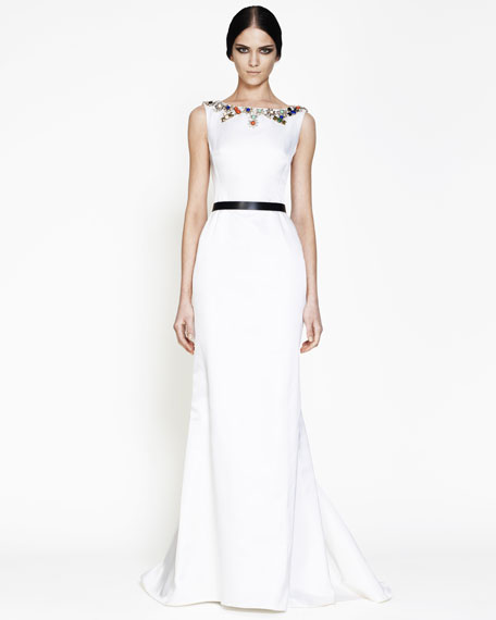 Bead-Neck Fishtail Gown