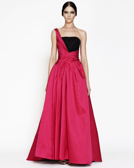 Draped One-Shoulder Ball Gown