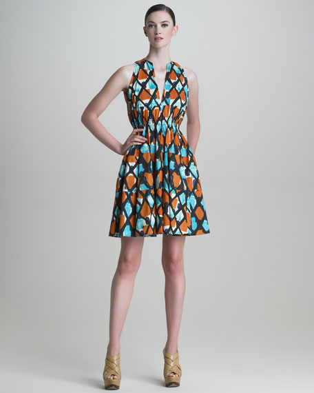 Painterly Grid-Print Poplin Dress