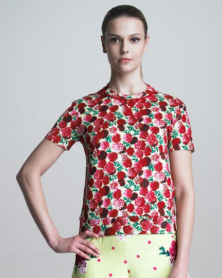 Floral-Print Crewneck Sweater