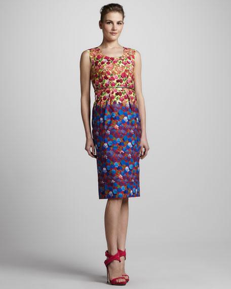 Sleeveless Floral-Print Dress with Belt