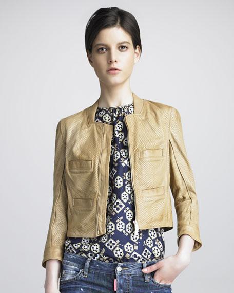 Croisette Perforated Leather Jacket