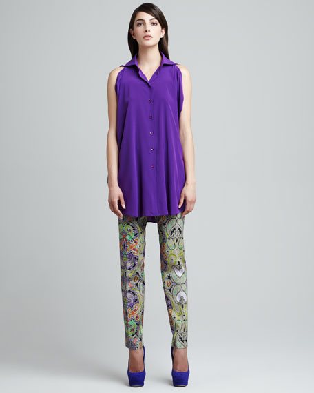 Paisley-Print Ankle Pants
